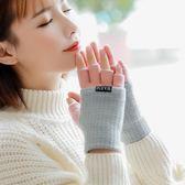 正韓手套女士冬季雙層加厚保暖日系可愛學生針織毛線五指漏指手套