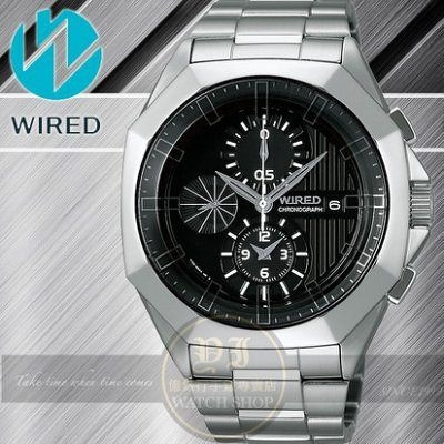 WIRED日本原創TOW FACE 系列 電音搖滾計時腕錶-黑/42mm/7T92-X228D公司貨/禮物/聖誕節