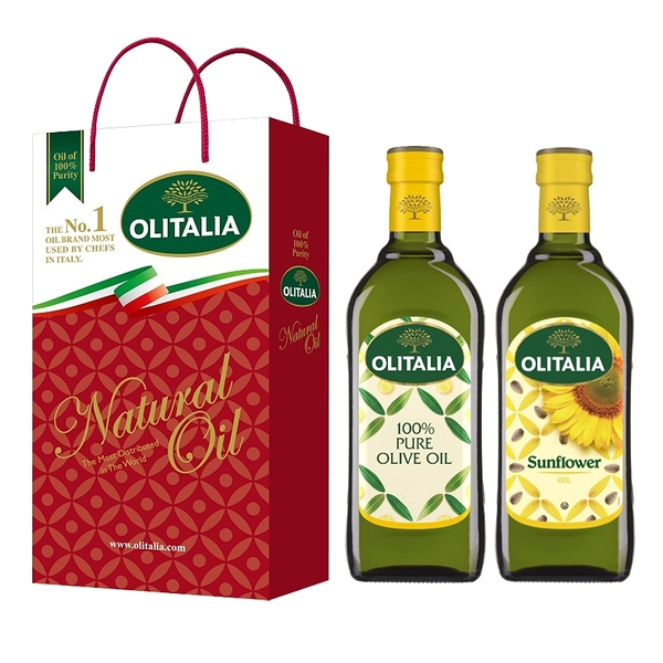 【Olitalia奧利塔】純橄欖油+葵花油禮盒組(500ml各1)