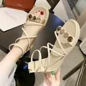 平底涼鞋 平底沙灘鬆糕 涼鞋夏季 新款 網紅百搭晚晚鞋仙女風亮片羅馬鞋 聖誕裝飾8折