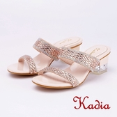 kadia.氣質優雅 雙色水鑽高跟拖鞋(9001-28香檳金)