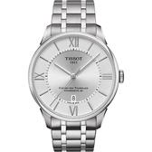 TISSOT 天梭 杜魯爾系列機械動力80手錶-銀/42mm T0994071103800