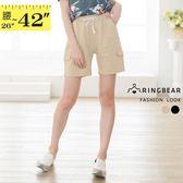 五分褲--原宿男友休閒風造型假口袋鬆緊綁帶褲頭寬鬆短褲(黑.卡其L-3L)-R235眼圈熊中大尺碼