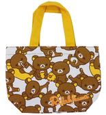 【卡漫城】 拉拉熊 手提袋 滿版 ㊣版 懶懶熊 Rilakkuma 魔鬼氈 餐袋 便當袋 小物收納袋