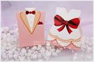 *幸福朵朵*╯【粉戀新郎新娘喜糖盒(一對價)X50對】-婚禮小物批發*奇摩本月超低特價!!