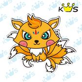 【防水貼紙】九尾狐-黃 # 壁貼 防水貼紙 汽機車貼紙 10.4cm x 9.1cm