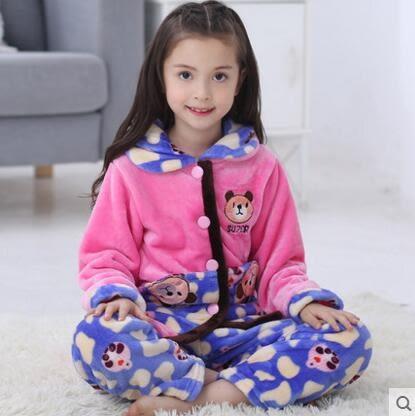 熊孩子☃兒童睡衣女童珊瑚絨法蘭絨秋冬季夾棉加厚款3-5寶寶家居服7-9周歲(1691)