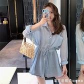 防曬襯衫女薄款外穿2020新款夏季透氣中長款百搭長袖條紋雪紡襯衣 美眉新品