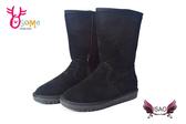 ISAO韓版女款雪靴 真皮內裡鋪毛保暖長靴M8065#黑色◆OSOME奧森鞋業