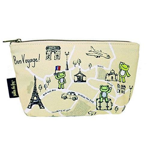 【日本進口正版】青蛙王子 Pickles the frog 帆布 化妝包 收納包 筆袋 鉛筆盒 - 099211