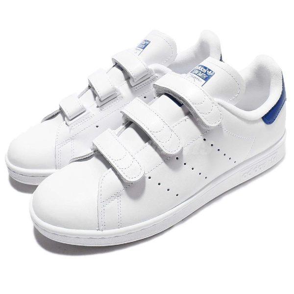 adidas 休閒鞋 Stan Smith CF 白藍 魔鬼氈 基本款 女鞋 男鞋【PUMP306】 S80042