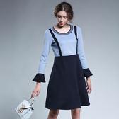 中大尺碼~優雅百搭圓領喇叭袖口長袖洋裝(3XL)
