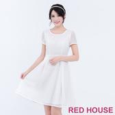 【RED HOUSE 蕾赫斯】圓領透膚格子洋裝(共2色)