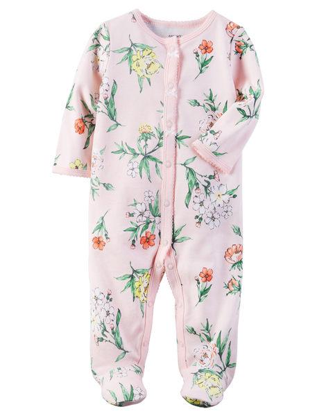 【美國Carter's】長袖包腳純棉連身衣- 粉嫩花園系列 115G213