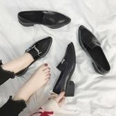 2020新款尖頭單鞋英倫風小皮鞋女ins潮鞋黑色工作鞋樂福鞋子  圖拉斯3C百貨