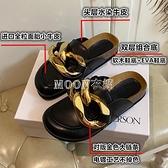 大金鏈條包頭半拖鞋女外穿時尚大頭鞋厚底樂福鞋穆勒懶人鞋女 快速出貨