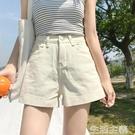 熱褲 白色超短褲女夏季新款小個子高腰顯瘦牛仔闊腿褲寬鬆直筒熱褲 生活主義