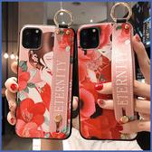 蘋果 iPhone 11 Pro Max XS XR XS MAX iX i8 plus i7+ 紅花女腕繩組 手機殼 全包邊 手袋 支架 可掛繩 保護殼