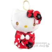 〔小禮堂〕Hello Kitty 絨毛玩偶娃娃吊飾《紅黑和服》掛飾.鑰匙圈.鎖圈 4548643-14081