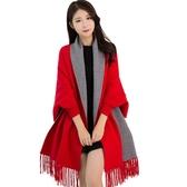 帶袖子新娘婚紗披肩女斗篷披風外套圍巾兩用韓版百搭秋冬季超大紅 ▷◁
