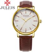 JULIUS 聚利時 復刻凝光點鑽立體大鏡面腕錶-深咖啡色/38mm 【JA-888C】