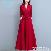 紅色洋裝貴夫人收腰顯瘦秋裝2020年新款女闊太太修身長袖連身裙系帶裙子潮 衣間迷你屋