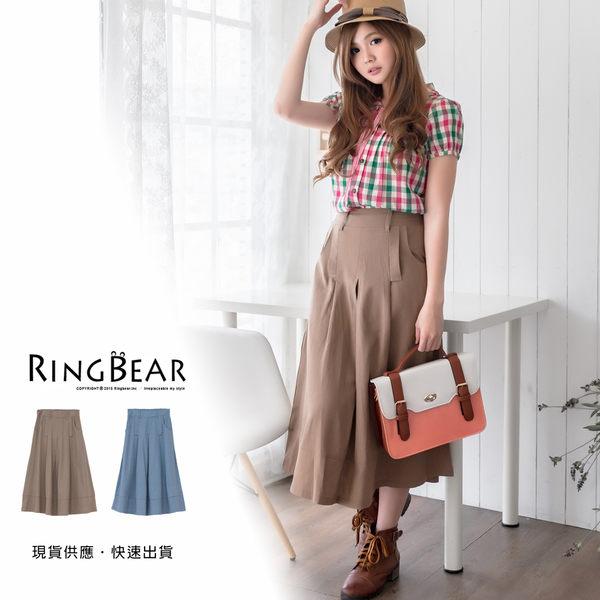 長裙--文藝簡約棉麻感緊褲頭壓折素雅長裙(藍.可可XL-4L)-Q61眼圈熊中大尺碼