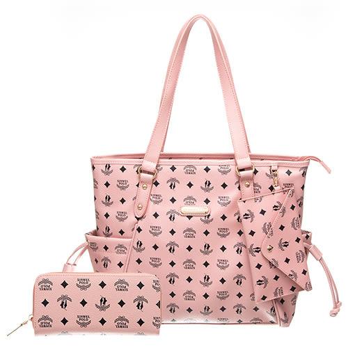 【XINWEI POLO】奢華LOGO風雙側口袋抽繩包附零錢包8129(粉)+皮夾