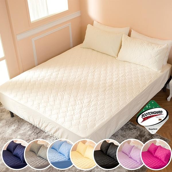 ∥雙人床包∥透氣防潑水技術處理床包式保潔墊 MIT台灣精製《米白》
