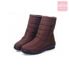 輕量時尚釦飾雙層防水防滑加厚保暖雪靴 棕...