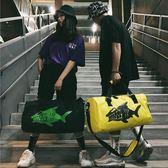 潮牌男女大容量行李袋個性單肩大包短途輕便手提旅行包『櫻花小屋』