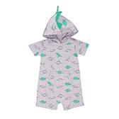 男寶寶短袖兔裝 純棉連帽連身衣 灰恐龍 | Carter s卡特童裝 (嬰幼兒/baby/新生兒)