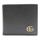 GUCCI 古馳 黑色GG Marmont系列金屬LOGO牛皮折疊短夾 428726【二手名牌BRAND OFF】