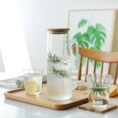 日式竹蓋耐熱玻璃大容量茶壺玻璃茶具涼水壺果汁壺【新店開張85折促銷】