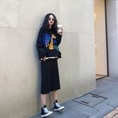 VK精品服飾 韓國風氣質顯瘦毛衣裙時尚套裝長袖裙裝