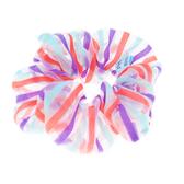 【粉紅堂 髮飾】條紋透紗大腸圈髮束 *黑白 / 紫藍橘 / 黃粉藍 *