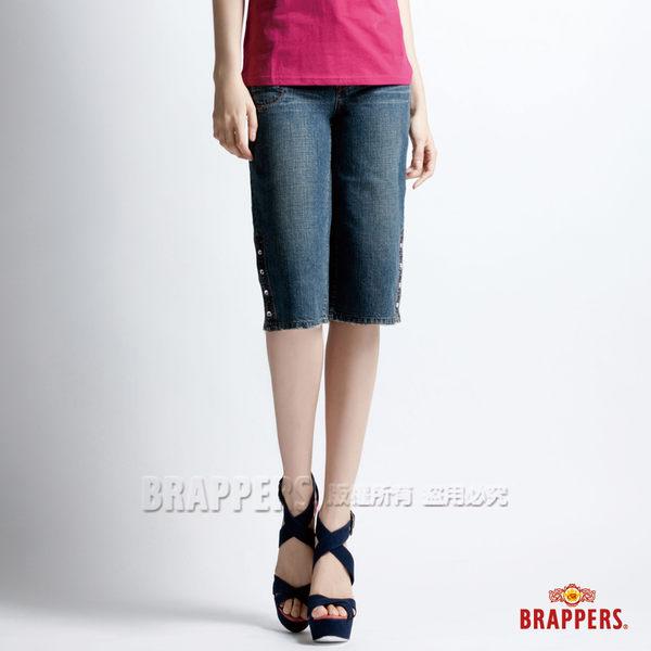 BRAPPERS 女款 女垮褲系列-女用開叉白鑽釦七分褲-藍