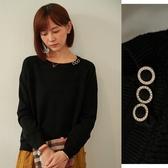 【慢。生活】晶鑽厚款鏤空柔軟針織衫 8665 FREE黑色