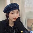貝雷帽 牛仔飄帶貝雷帽女韓系秋季甜酷街拍復古平頂畫家帽氣質時尚八角帽 維多原創