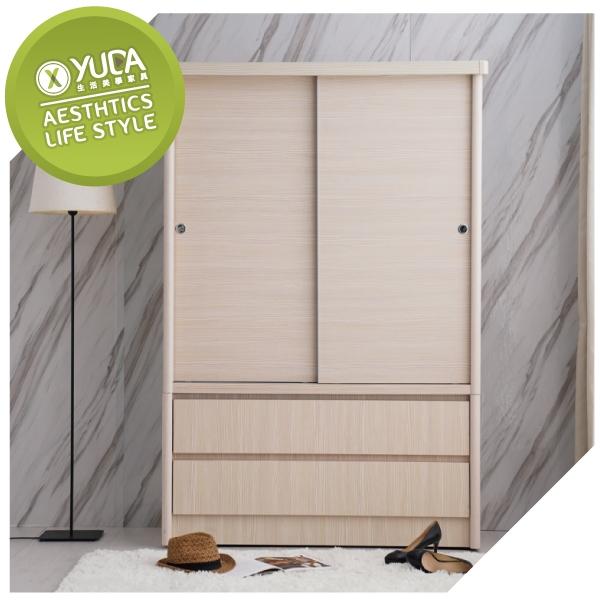 衣櫃【YUDA】美化 4*6尺 A+木心板 推門/拉門+雙抽屜 衣櫥/衣櫃 (不含內鏡 可加購) 新竹以北免運費