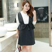 中大尺碼~氣質黑白條紋長袖連衣裙(XL~4XL)