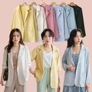 MIUSTAR 馬卡龍色系!單釦方口袋雪紡西裝外套(共6色)【NJ1014】預購