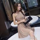 性感夜店女裝綁帶露背掛脖洋裝氣質無袖顯瘦大擺裙潮 韓語空間