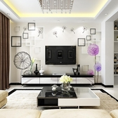現代簡約3D立體客廳電視背景墻壁紙 cf