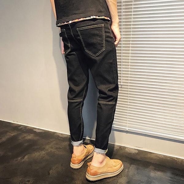 經典潮流時尚日系簡約素色造型百搭休閒牛仔褲