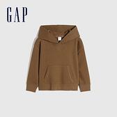 Gap男幼童 簡約風純色運動連帽休閒上衣 747179-棕色