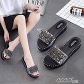 拖鞋 拖鞋女時尚女士一字拖平底花朵沙灘鞋外穿高跟厚底涼拖鞋夏季女鞋    coco衣巷