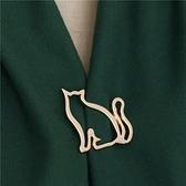 胸針 可愛線條小肥貓胸針女毛衣胸針開衫披肩扣裝飾胸花簡約西裝別針【快速出貨八折鉅惠】