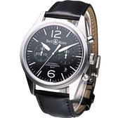 Bell & Ross 復刻版計時飛行機械錶-(BRV-126-BL-ST-SWA)黑色