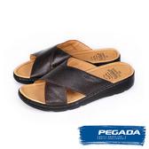 【PEGADA】巴西名品真皮休閒拖鞋  深咖啡(132503-DBR)